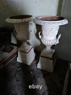 Pair Antique Cast-Iron Urns