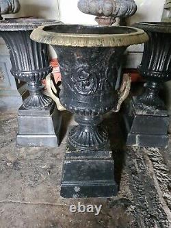 Pair Antique Cast-Iron Urns gold top
