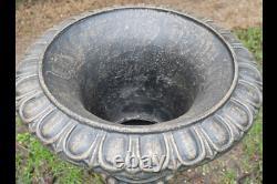 Pair Large Cast Iron Urn 68cm Bronze Effect Finish Garden Ornament Victorian
