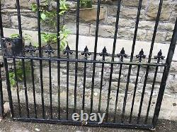 Pair Wrought Iron Gates With Cast Finials Drive Gates. Each Gate is 1.47m wide
