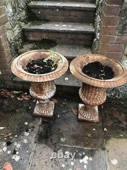 Pair of Antique cast iron/campagna urns-Victorian style cast iron urns 62cm