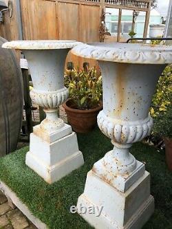 Pair of Cast iron Campagna urns & plinths cast iron urns 88 cm