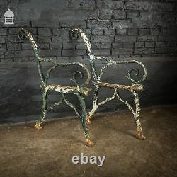 Pair of Victorian Cast Iron Bench Ends with Distressed Green Paint
