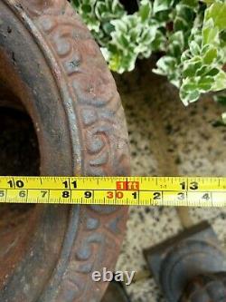 Pair of Victorian Heavy Cast Iron Garden Urns / Planters