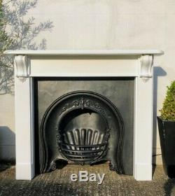 RARE! Early Victorian High Quality Cast Iron Insert Fireplace & Wooden Surround
