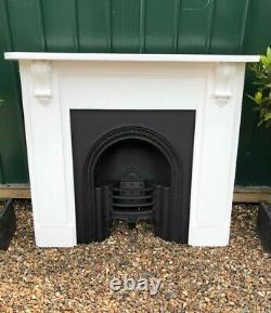 RARE! Original Antique Victorian Cast Iron Hob Grate Fireplace & Wooden Surround