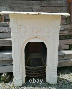 Reclaimed Antique Victorian Cast Iron Fireplace Bedroom Complete #F92J