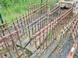 Reclaimed Antique victorian cast iron railings in stone wall coping fleur de lis