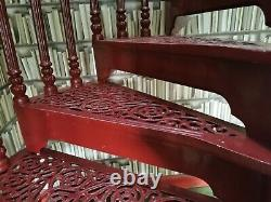 Red cast iron spiral staircase