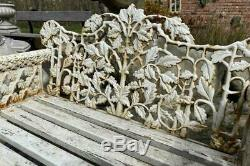Reproduction Antique Cast Iron Garden Bench Oak & Ivy Coalbrookdale White
