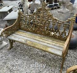 Reproduction Antique Cast Iron Garden Bench Set Bench & Two Chairs Heavy