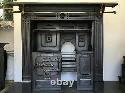 Restored Antique Cast Iron Victorian Kitchen Cooking Range Fireplace Hob (QP386)