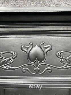 Restored Antique Victorian / Art Nouveau Cast Iron Fireplace / Fire Surround
