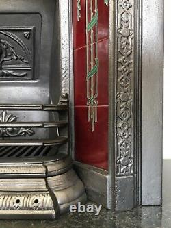 Restored Antique Victorian Style Cast Iron Tiled Insert Fireplace (LG019)