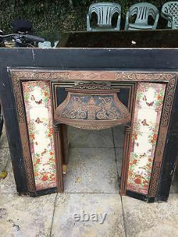 Retro Vintage Cast Iron Tiled Fire Surround / Fireplace Victorian