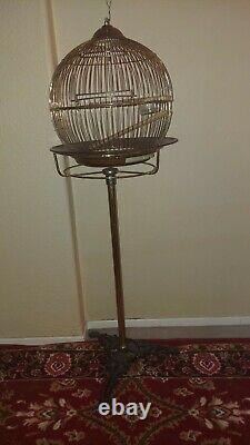 Sale was $350 Vintage Antique Victorian Art Deco Brass Bird Cage cast iron stand