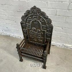 Small Antique Cast Iron Fire Basket with Integral Fire Back