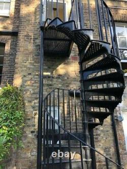 Splendid Vintage Cast Iron Spiral Staircase 3.8m Tall W Balcony