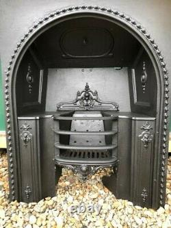 Stunning Early Victorian Antique Cast Iron Hob Grate Insert Fireplace Dated 1848