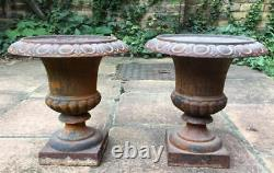 Stunning matching pair, cast iron, classical Victorian style urns, 33cm tall