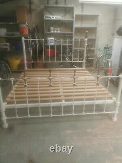 Super King Size Victorian Bed Frame Cream cast iron with brass work