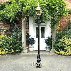 USED Ex-Display 2.2m Brass Victorian Lamp Post + Lantern Garden Lighting Set
