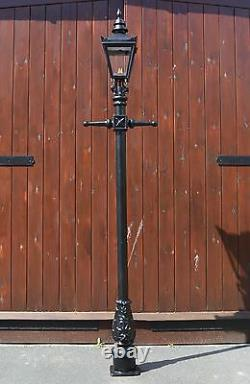 USED Ex-Display 2.2m Victorian Lamp Post + Lantern Reclaimed Garden Lighting Set