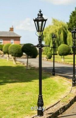 USED Ex-Display 2.3m Hexagonal Victorian Lamp Post + Lantern Garden Lighting Set