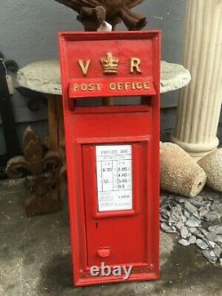 VR RED Victorian Style Post Box Front In Cast Iron Royal Mail Post Office Box