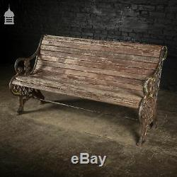 Victorian Cast Iron Admiralty Bench with Weathered Hardwood Slats