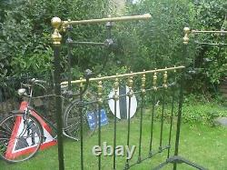 Victorian Cast Iron And Brass Double(4ft6) Half Tester Bed. Beautiful