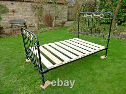 Victorian Cast Iron + Brass 4Ft Bed Restored Original With Brass Fittings