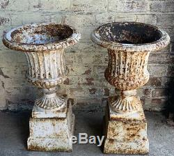 Victorian Cast Iron Campana Garden Urns
