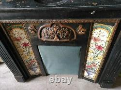 Victorian Cast Iron Fireplace Insert with Tiles & Black Surround Deliv Poss
