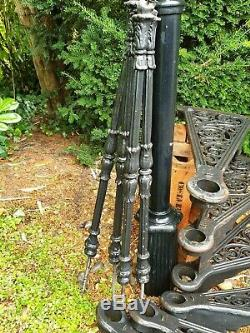Victorian Cast Iron Spiral Staircase, 6 Stairs, Spindles, Hand Rail. Antique