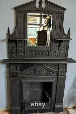 Victorian Cast iron fire Surround/Place with over mantle mirror