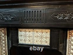 Victorian Edwardian Antique style CAST IRON BEDROOM FIRE Surround with tiles