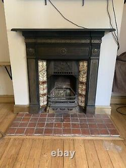Victorian Style Black Cast Iron Tiled Insert Fireplace Surround and Grate