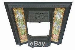 Victorian Style Cast Iron Tiled Insert Fireplace