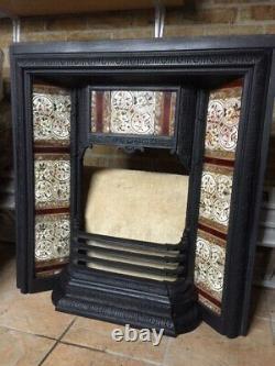 Victorian cast iron tiled fireplace insert
