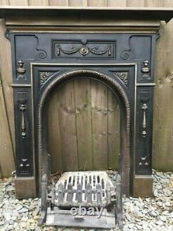 Victorian style cast iron fire surround plus grate, bars and ashpan