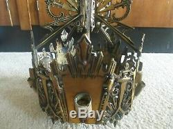Vintage Antique Art Deco Slip Shade Chandelier Lamp 5 Light Fixture Cast Iron