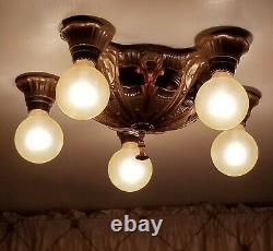 Vintage Arts & Crafts Style Flush Ceiling Fixture, 5 Bulb, Art Deco Period 1930s