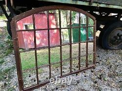 Vintage Cast Iron Arched Industrial Metal Mirror Window Over mantle garden