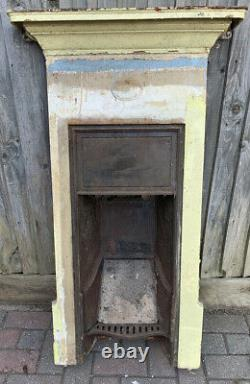Vintage Cast Iron Fire Place Original Unrestored Barn Condition Built In Mantle