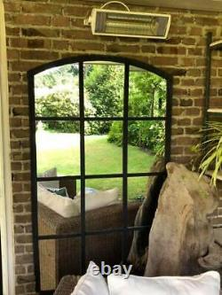Vintage Cast Iron Industrial Metal Mirror Window 12 Pane
