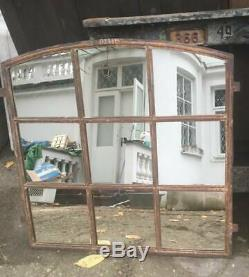 Vintage Cast Iron Industrial Metal Mirror Window 9 Pane
