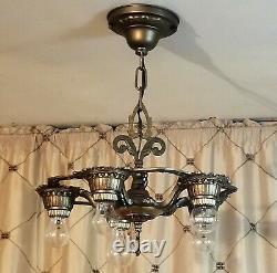 Vintage Victorian Style Ceiling Light Fixture, Cast Iron, 5 Light, Circa 1920's