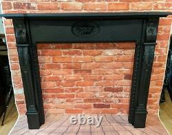 Vintage ornate antique black cast iron style Painted Fire Surround Fireplace