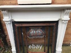 Wooden fireplace surround Also Cast Iron Fire With Marble Hearth